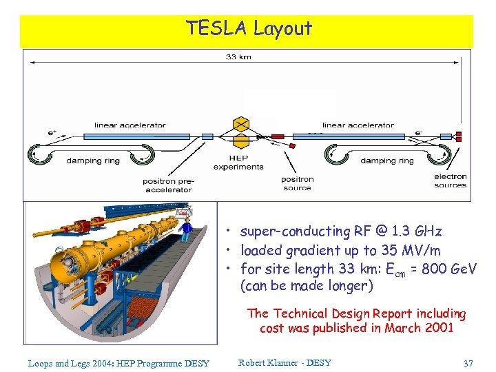 TESLA Layout • super-conducting RF @ 1. 3 GHz • loaded gradient up to