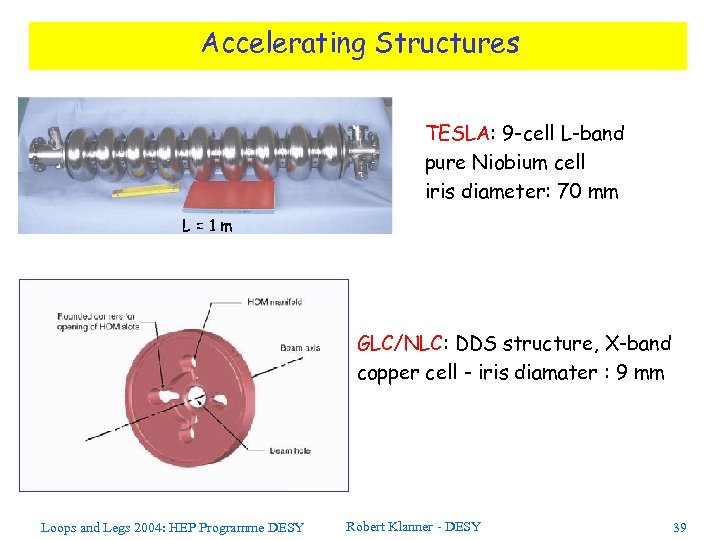 Accelerating Structures TESLA: 9 -cell L-band pure Niobium cell iris diameter: 70 mm L=1