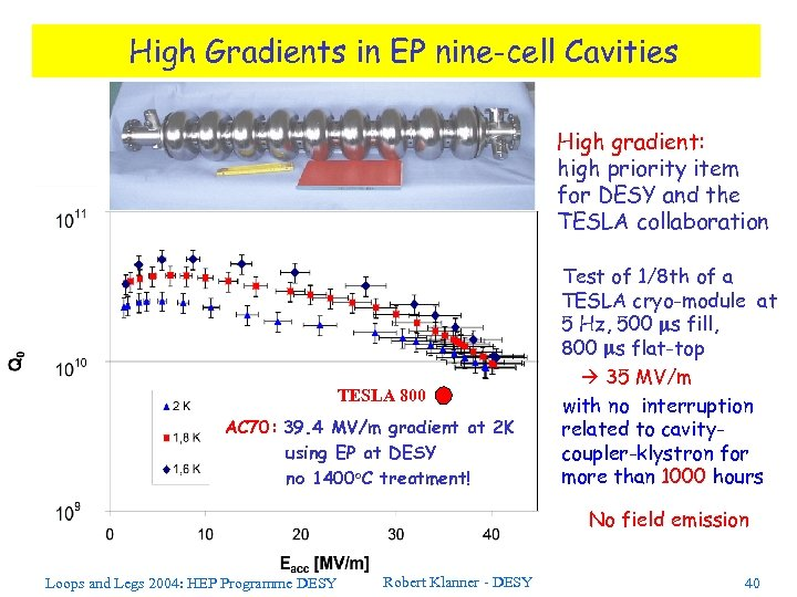 High Gradients in EP nine-cell Cavities High gradient: high priority item for DESY and