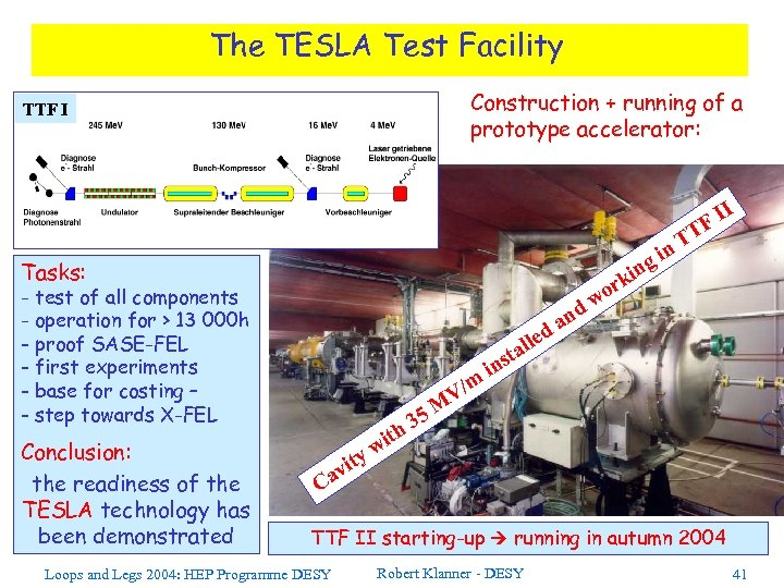 The TESLA Test Facility Construction + running of a prototype accelerator: TTF I n