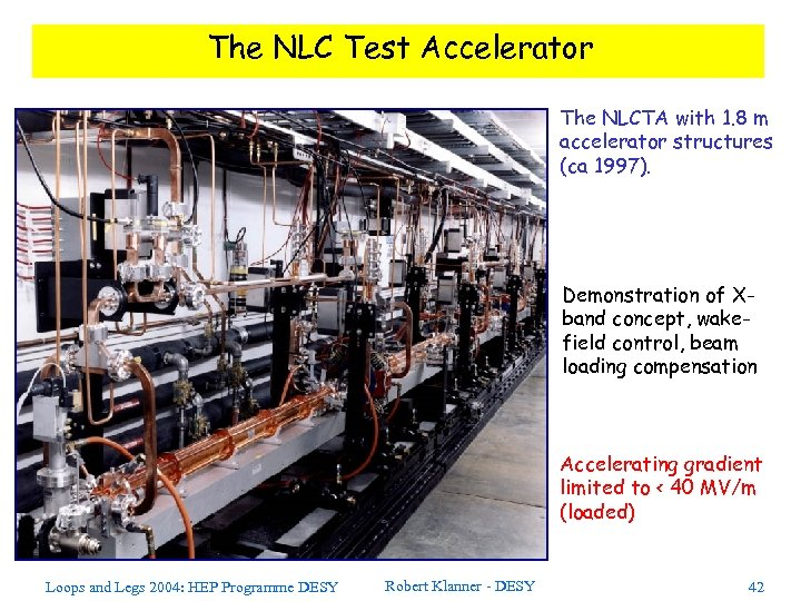 The NLC Test Accelerator The NLCTA with 1. 8 m accelerator structures (ca 1997).