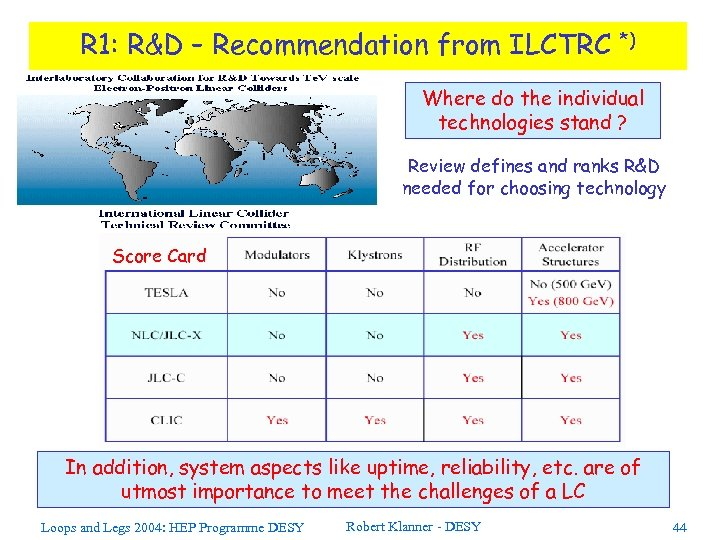 R 1: R&D – Recommendation from ILCTRC *) Where do the individual technologies stand