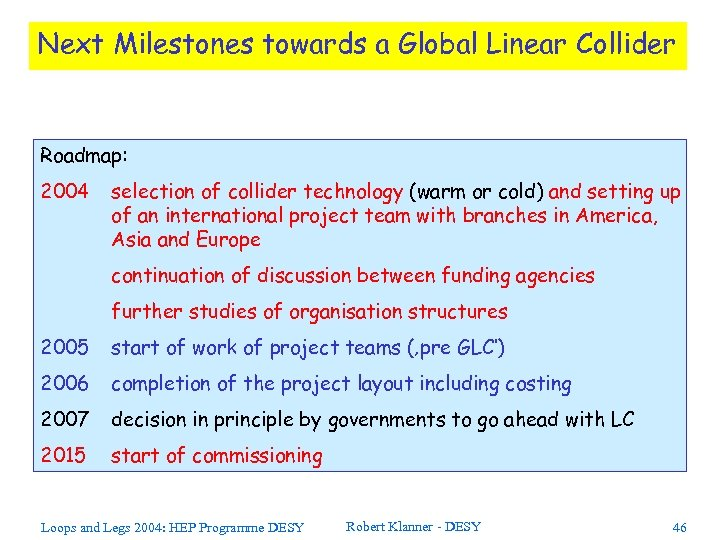 Next Milestones towards a Global Linear Collider Roadmap: 2004 selection of collider technology (warm