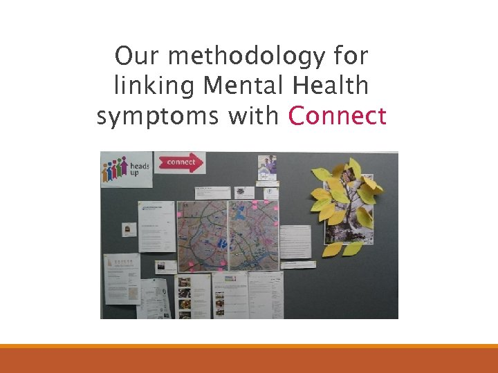 Our methodology for linking Mental Health symptoms with Connect