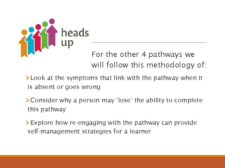 Heads Up For the other 4 pathways we will follow this methodology of: ØLook