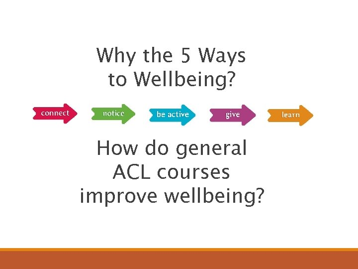 Why the 5 Ways to Wellbeing? How do general ACL courses improve wellbeing?