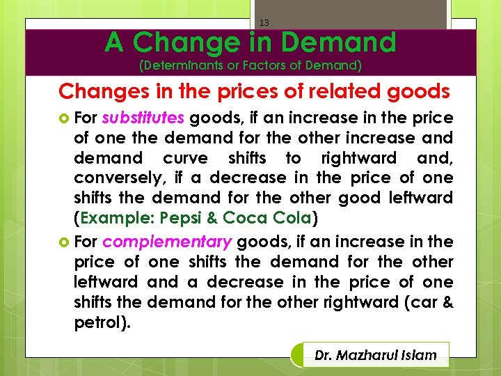 13 A Change in Demand (Determinants or Factors of Demand) Changes in the prices
