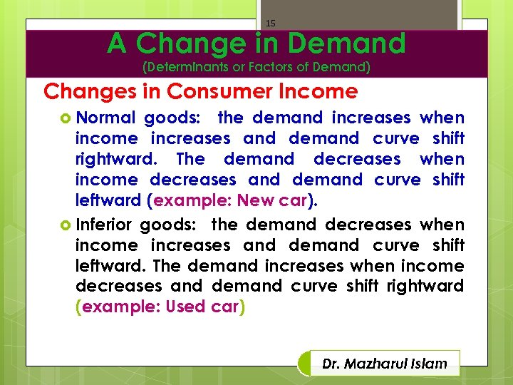 15 A Change in Demand (Determinants or Factors of Demand) Changes in Consumer Income