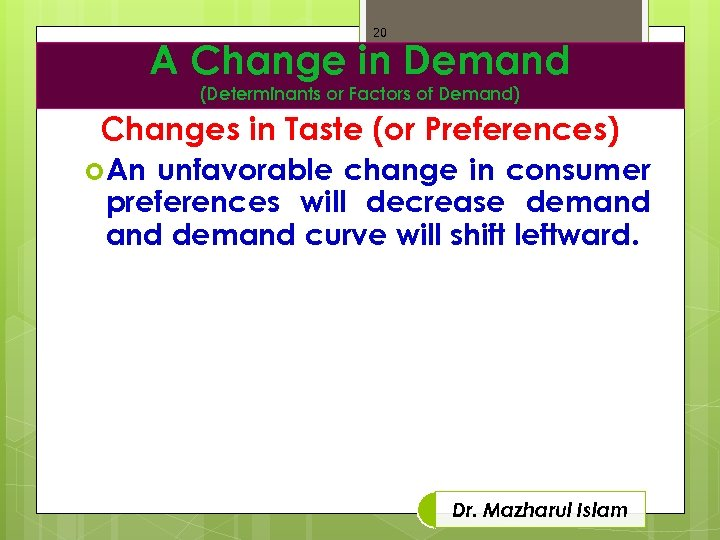 20 A Change in Demand (Determinants or Factors of Demand) Changes in Taste (or
