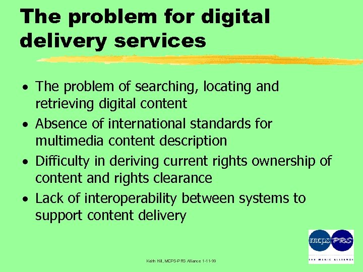 The problem for digital delivery services · The problem of searching, locating and retrieving