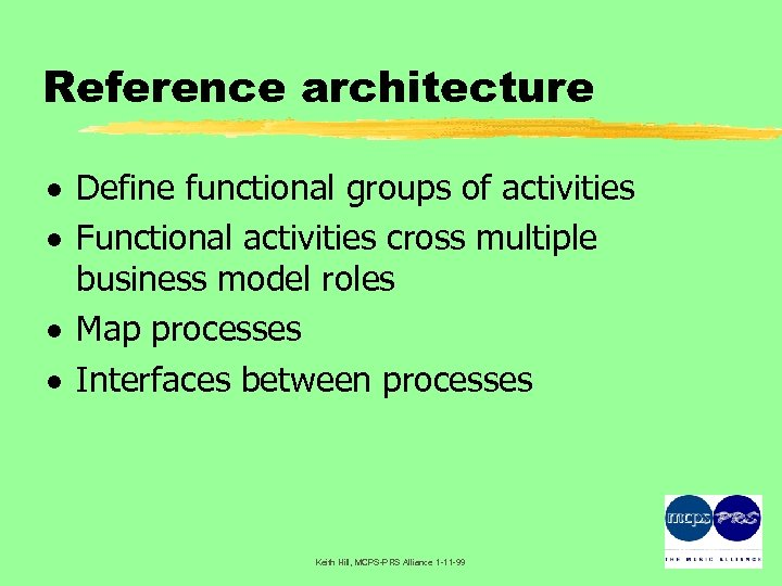 Reference architecture · Define functional groups of activities · Functional activities cross multiple business