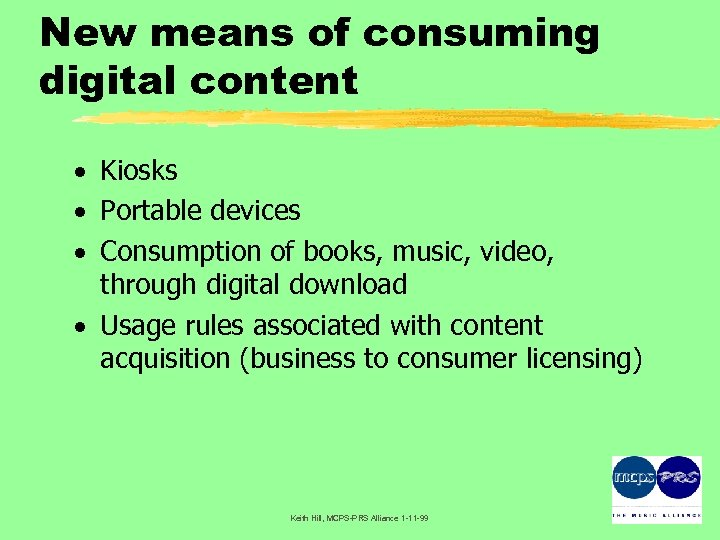 New means of consuming digital content · Kiosks · Portable devices · Consumption of