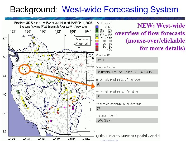 Background: West-wide Forecasting System NEW: West-wide overview of flow forecasts (mouse-over/clickable for more details)
