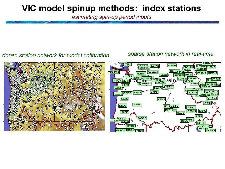 VIC model spinup methods: index stations estimating spin-up period inputs dense station network for