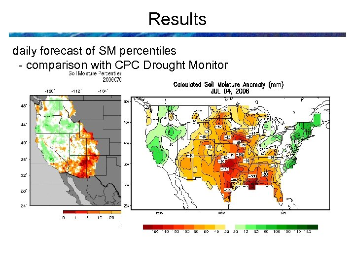 Results daily forecast of SM percentiles - comparison with CPC Drought Monitor