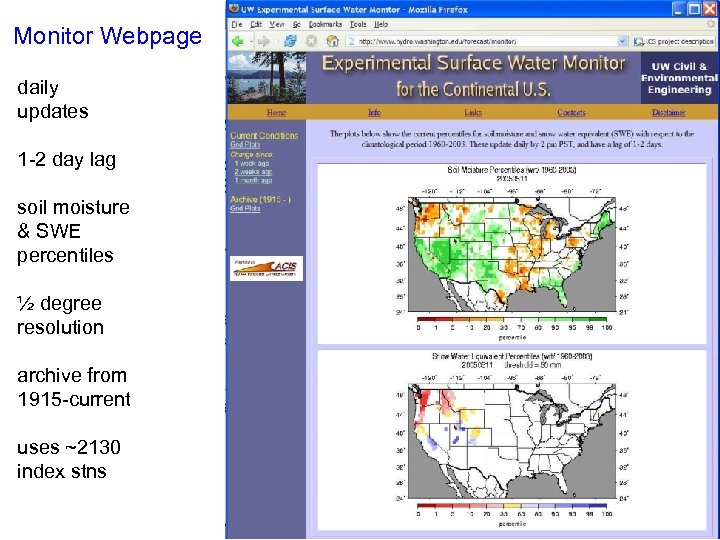 Monitor Webpage daily updates 1 -2 day lag soil moisture & SWE percentiles ½