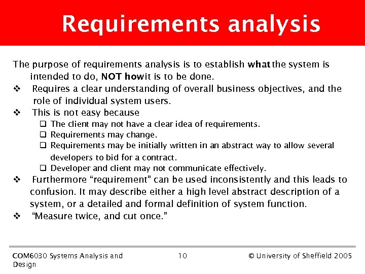 Requirements analysis The purpose of requirements analysis is to establish what the system is