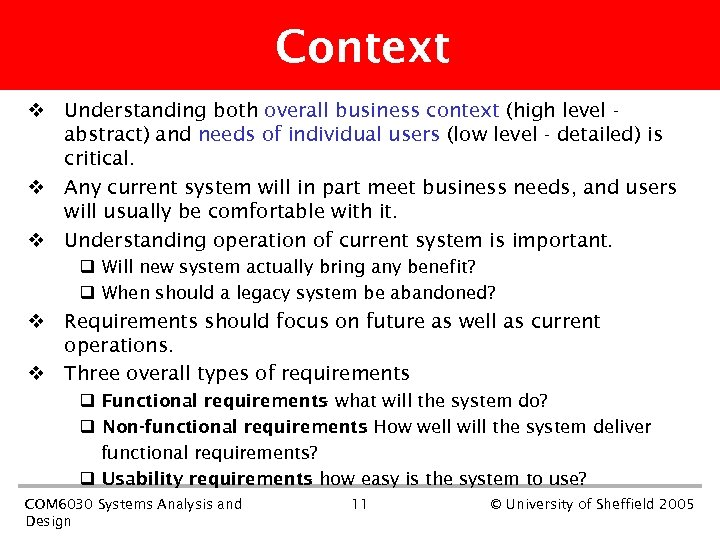 Context v Understanding both overall business context (high level abstract) and needs of individual