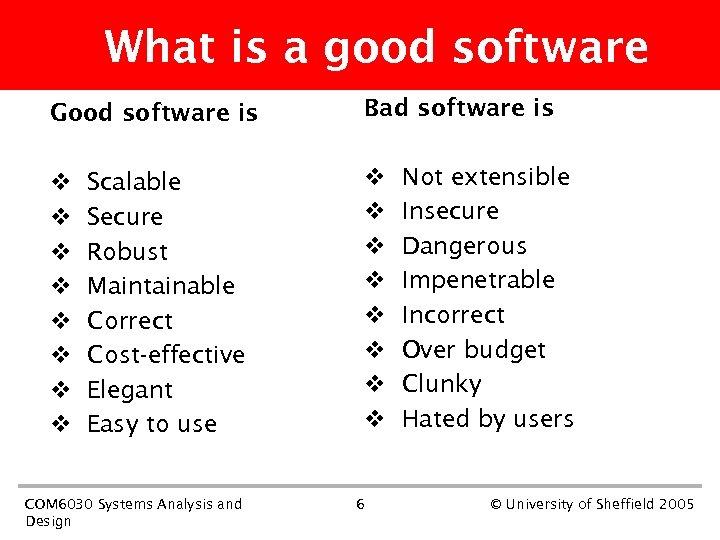 What is a good software Good software is v v v v Scalable Secure