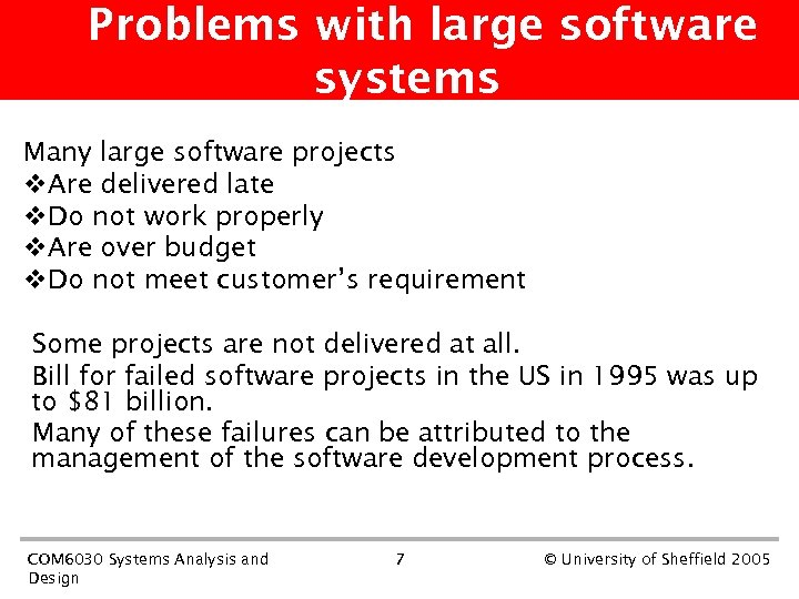 Problems with large software systems Many large software projects v. Are delivered late v.
