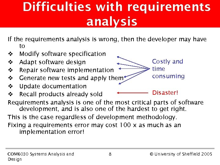 Difficulties with requirements analysis If the requirements analysis is wrong, then the developer may