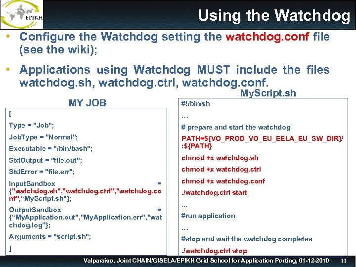 Using the Watchdog • Configure the Watchdog setting the watchdog. conf file (see the