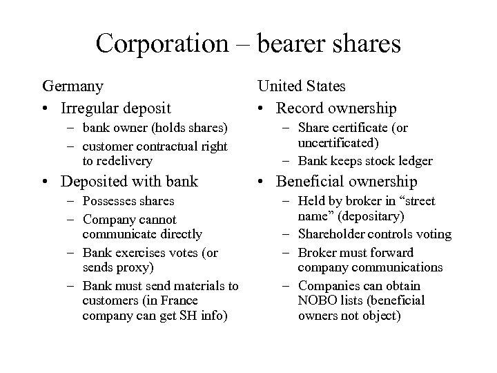 Corporation – bearer shares Germany • Irregular deposit – bank owner (holds shares) –