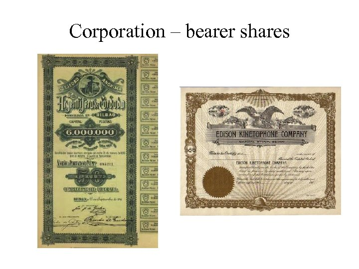 Corporation – bearer shares