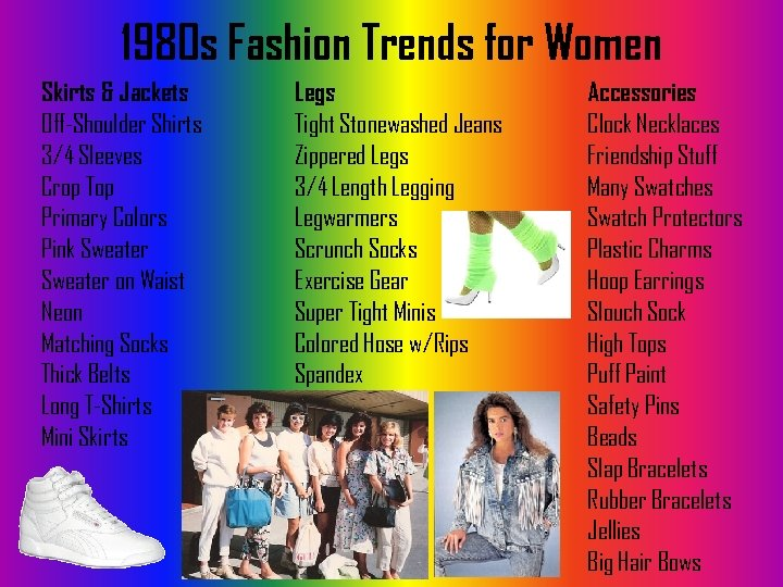 1980 s Fashion Trends for Women Skirts & Jackets Off-Shoulder Shirts 3/4 Sleeves Crop