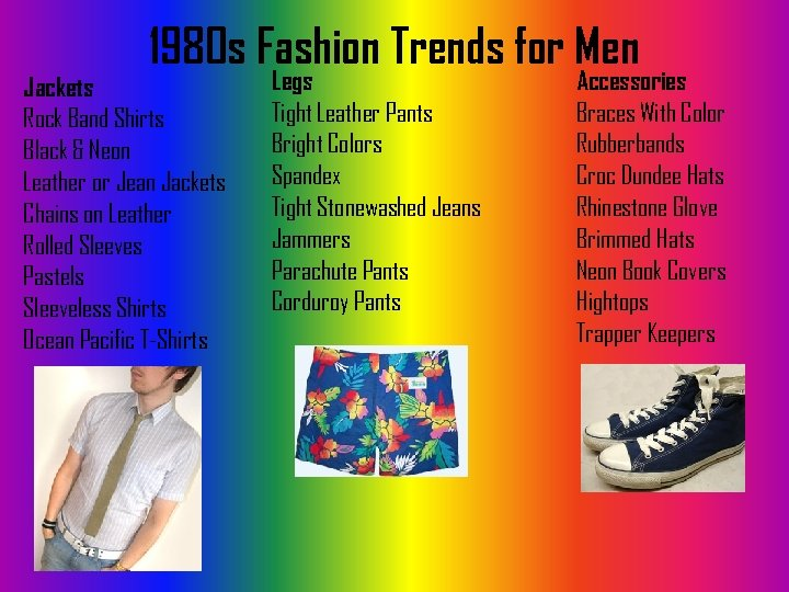 1980 s Fashion Trends for Men Jackets Rock Band Shirts Black & Neon Leather