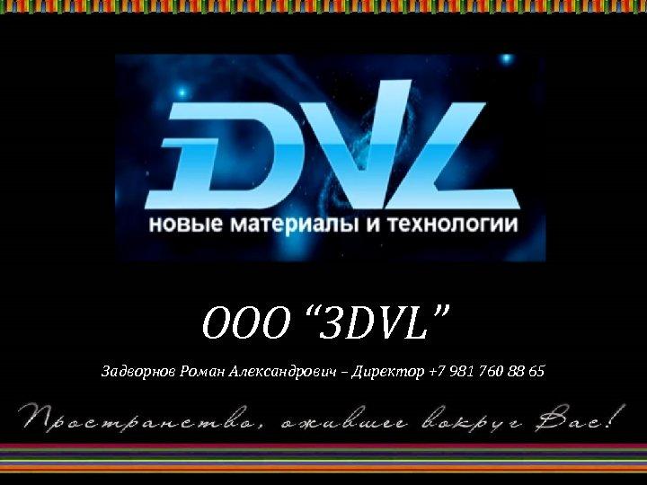 "OOO "" 3 DVL"" Задворнов Роман Александрович – Директор +7 981 760 88 65"