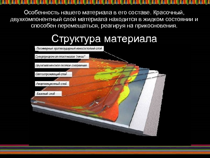 Особенность нашего материала в его составе. Красочный, двухкомпонентный слой материала находится в жидком состоянии