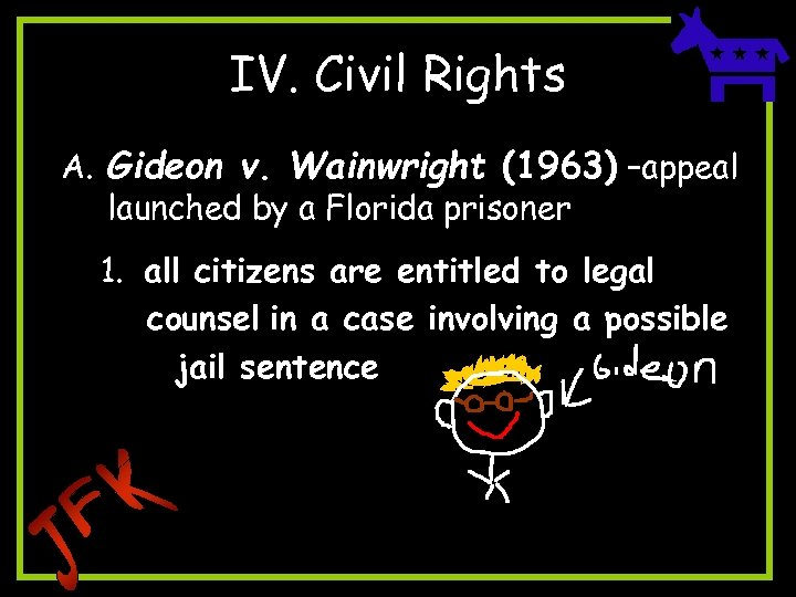 IV. Civil Rights A. Gideon v. Wainwright (1963) –appeal launched by a Florida prisoner
