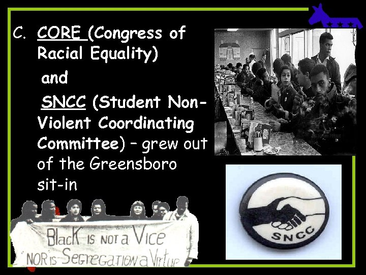 C. CORE (Congress of Racial Equality) and SNCC (Student Non. Violent Coordinating Committee) –
