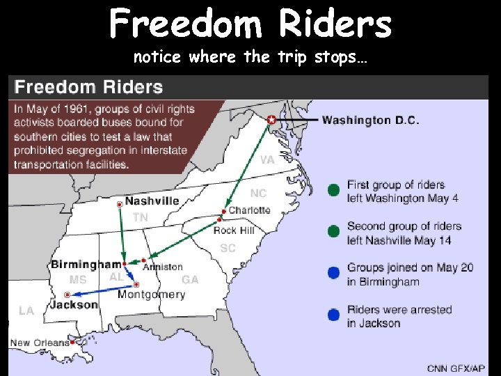 Freedom Riders notice where the trip stops…