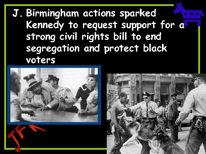 J. Birmingham actions sparked Kennedy to request support for a strong civil rights bill