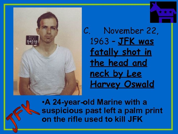 C. November 22, 1963 – JFK was fatally shot in the head and neck