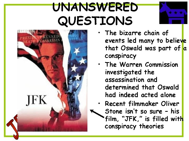 UNANSWERED QUESTIONS • The bizarre chain of events led many to believe that Oswald