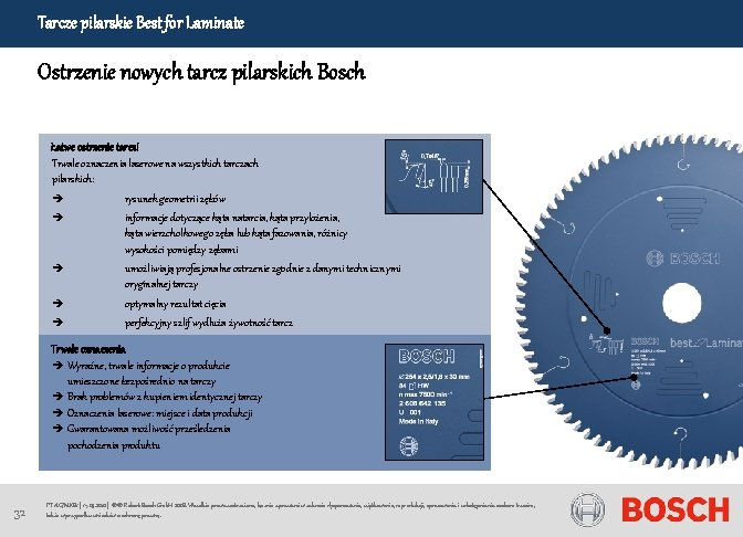 Tarcze pilarskie Best for Laminate Ostrzenie nowych tarcz pilarskich Bosch Łatwe ostrzenie tarcz! Trwałe