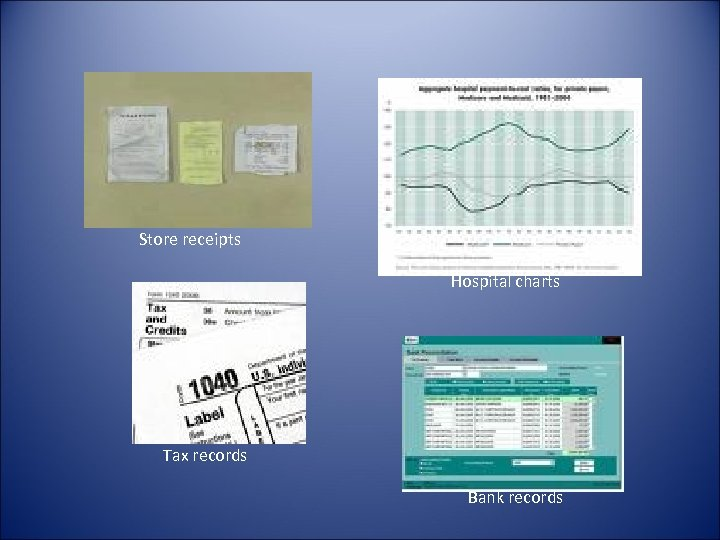 Store receipts Hospital charts Tax records Bank records