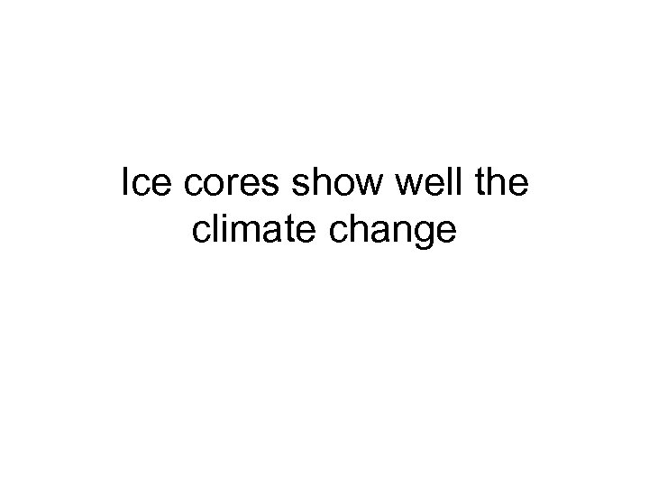 Ice cores show well the climate change