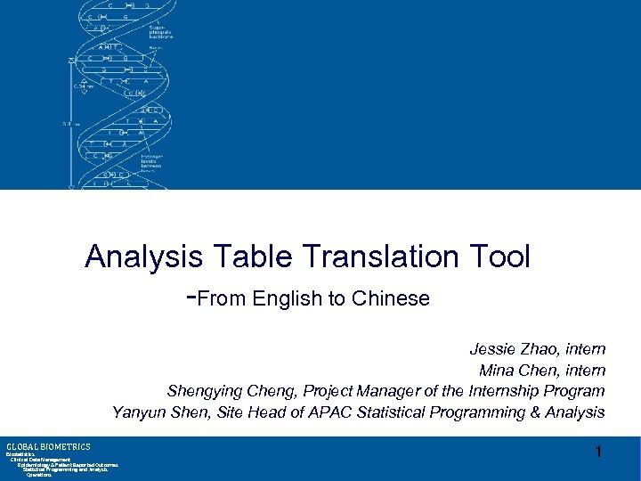 Analysis Table Translation Tool -From English to Chinese Jessie Zhao, intern Mina Chen, intern