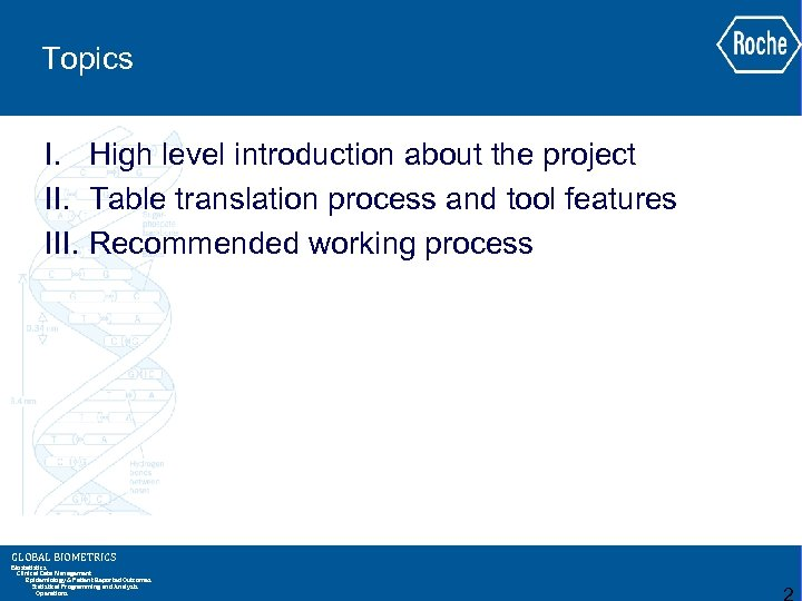 Topics I. High level introduction about the project II. Table translation process and tool