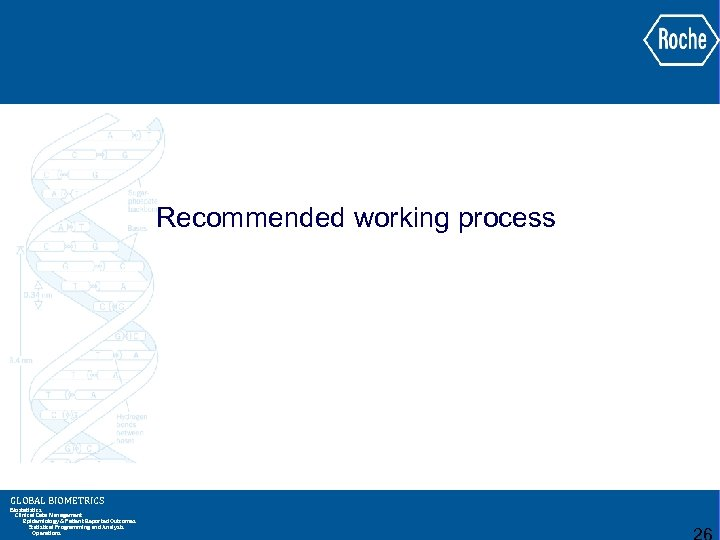 Recommended working process GLOBAL BIOMETRICS Biostatistics Clinical Data Management Epidemiology & Patient Reported Outcomes