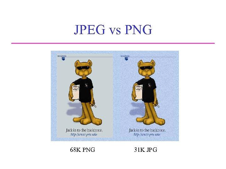 JPEG vs PNG Comparison of JPEG and PNG 68 K PNG 31 K JPG