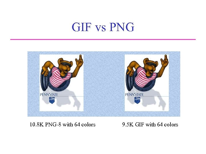 GIF vs PNG Comparison of JPEG and PNG 10. 8 K PNG-8 with 64
