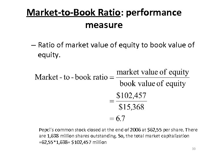 Market-to-Book Ratio: performance measure – Ratio of market value of equity to book value