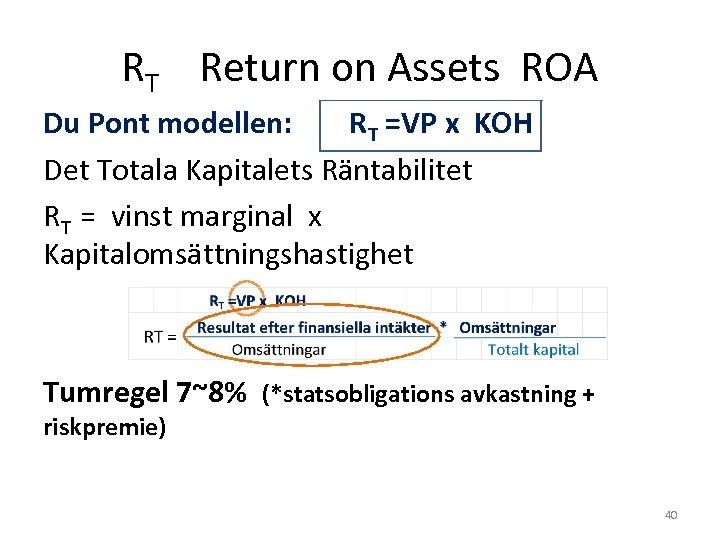 RT Return on Assets ROA Du Pont modellen: RT =VP x KOH Det Totala