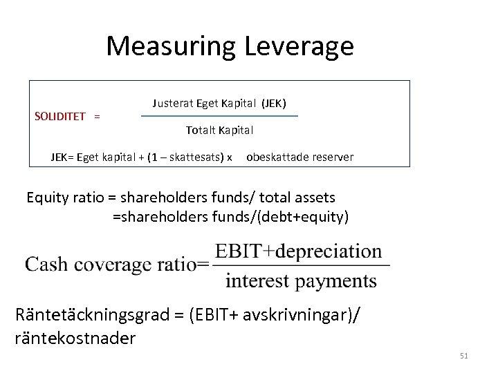 Measuring Leverage SOLIDITET = Justerat Eget Kapital (JEK) Totalt Kapital JEK= Eget kapital +