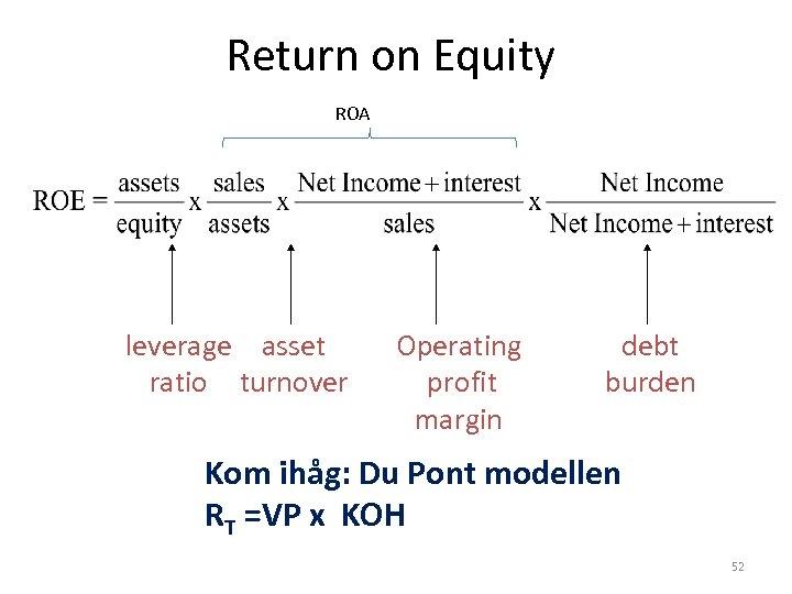 Return on Equity ROA leverage asset ratio turnover Operating profit margin debt burden Kom